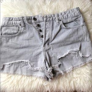 Free People Light Gray Jean shorts